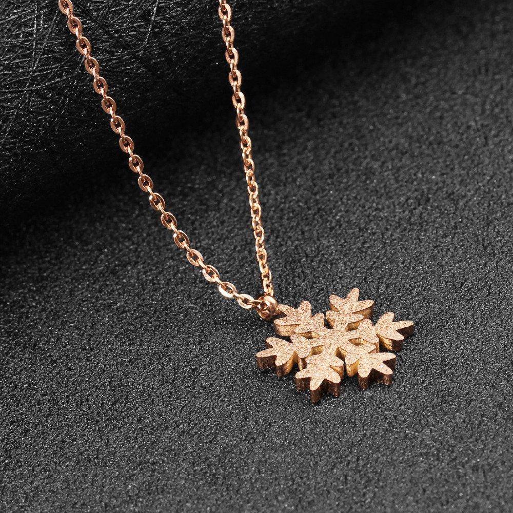 Schmuckbeutel Kim Johanson Edelstahl Damen Schmuckset Schneeflocke Halskette mit Anh/änger /& Ohrringe in Ros/égold inkl