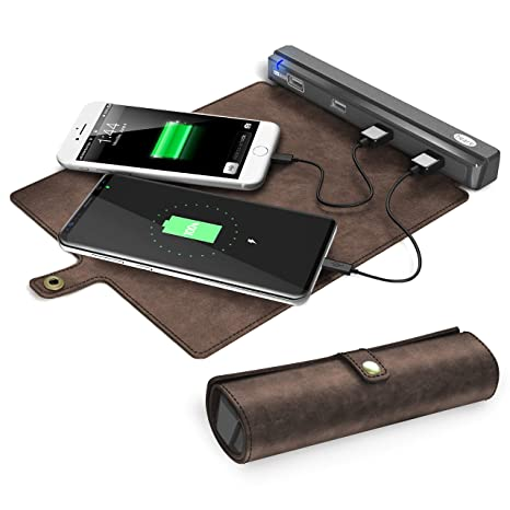 37abf934df5 USB Charging Station Portable, Beare 4 Ports USB charger hub with Roll Up  Leather Organizer