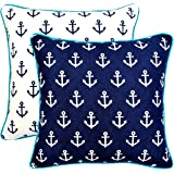 TreeWool, (Pack of 2) Anchor 2-in-1 Accent Throw Pillow Covers in Cotton Canvas with Contrast Piping (18 x 18 Inches; Navy & White)