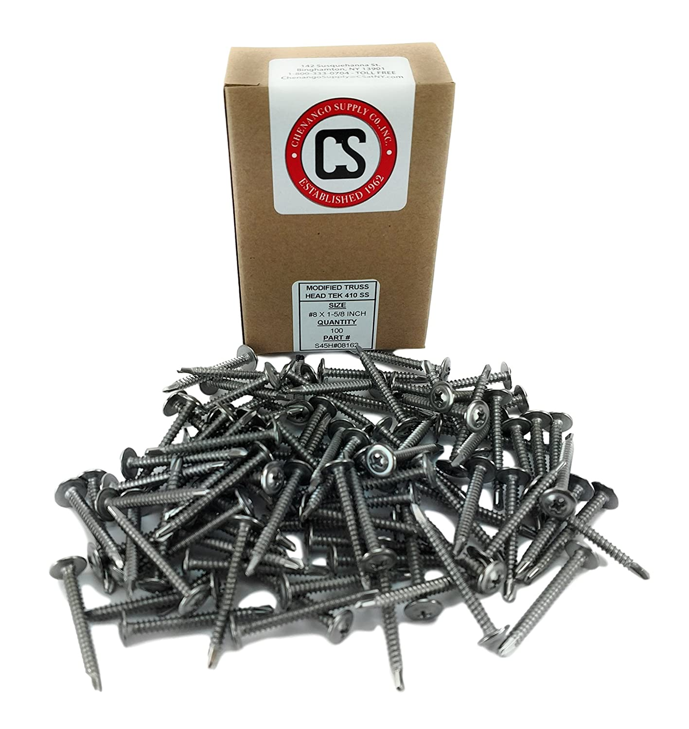 100 pieces 410 Stainless #8 x 1-1//4 Wafer Head Philips Self Drilling Sheet Metal Tek Screws Modified Truss Head Self Driller #8 x 1-1//4 inch 1//2 to 1-5//8 Length in Listing
