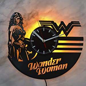 Wonder Woman Super Hero DC Comics Night Light Wall Lights Vinyl Record Wall Clock Vintage Home Design Vinyl Wall Clock Handmade Clock Wall Art Decor Night Light Gift for Any Event Best Gift Gift