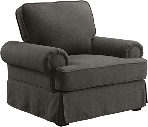 Benjara, Gray Benzara Fabric Upholstered Chair with Rolled Armrest