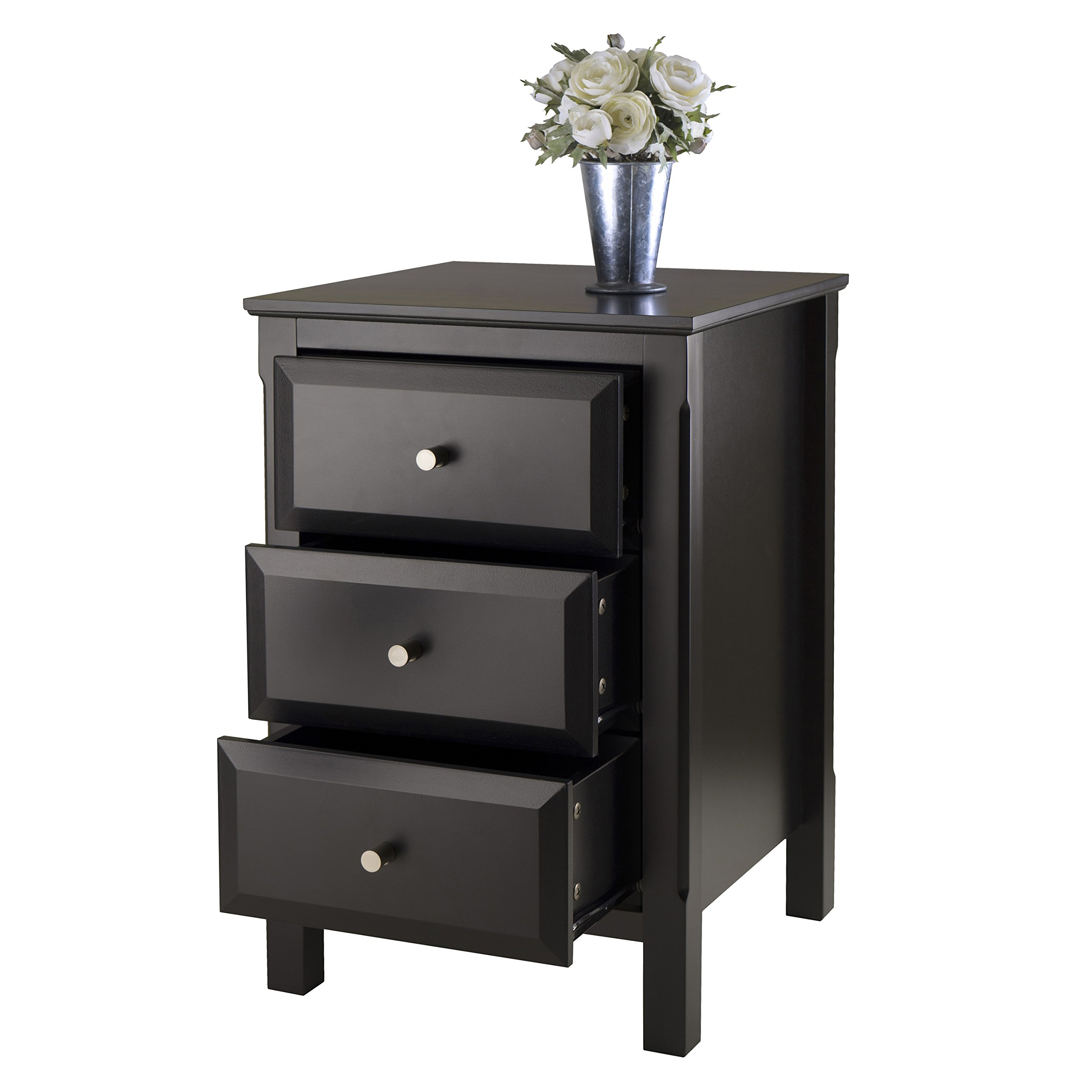 Night Stand 3 Drawer Storage Bedside End Table Blk Wood
