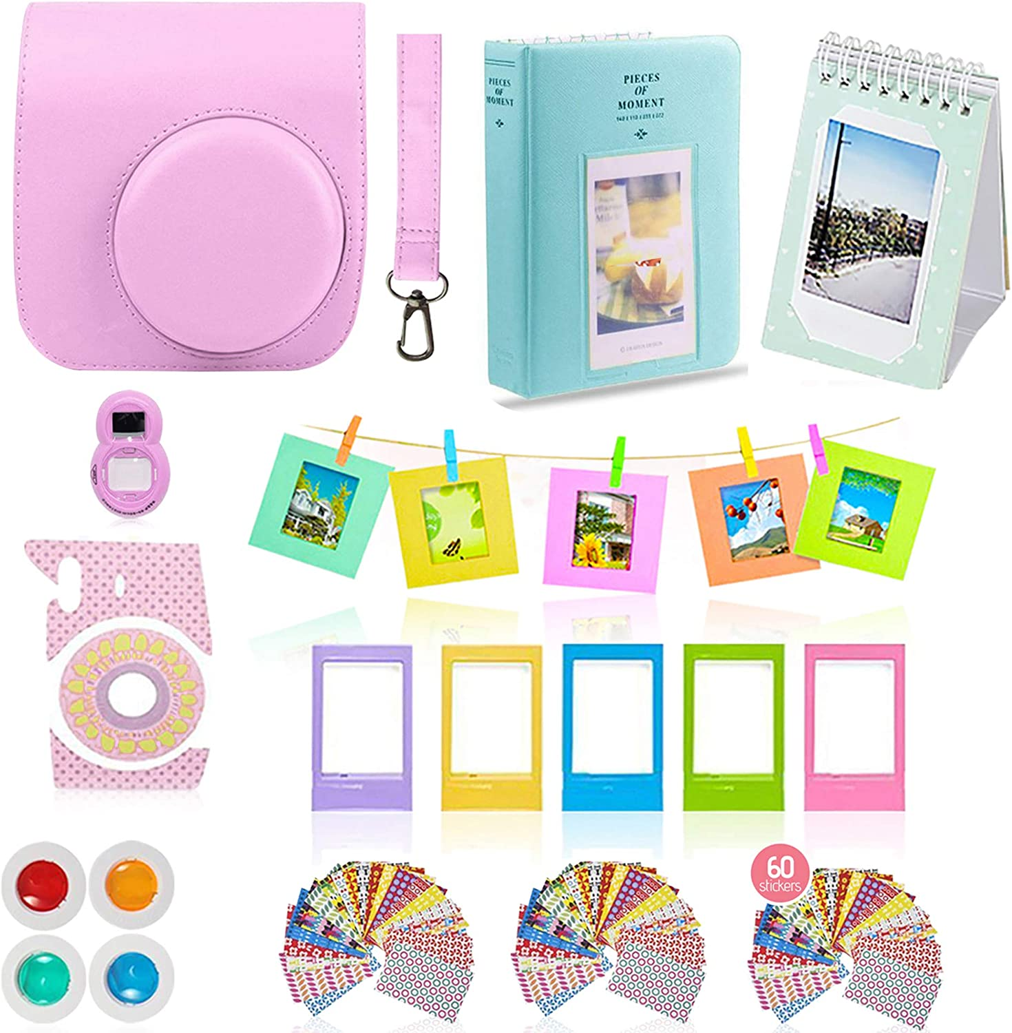 Gift Set Selfie Lens 2 Albums 60 Stickers Creative Frames 14 PC Kit Includes: Yellow Instax Mini Case Color Filters Hanging Frames Fujifilm Instax Mini 9 Camera Accessories Bundle Strap