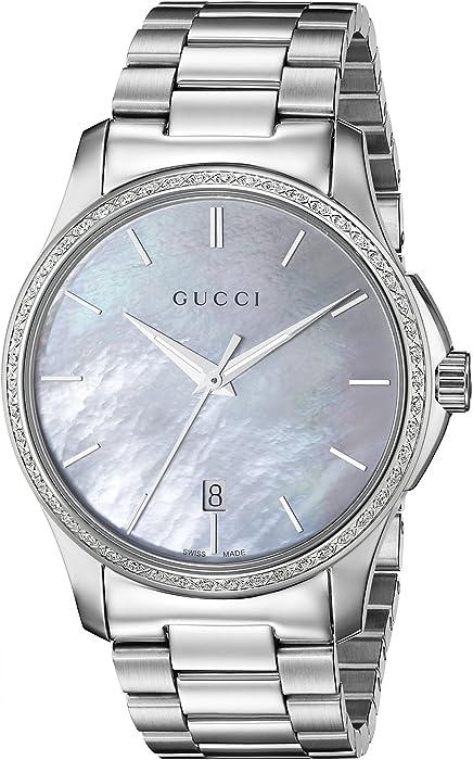 b8aca4ac03a Gucci G-Timeless Analog Display Swiss Quartz Silver-Tone Women s Watch (Model