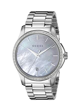 c5874116ed1 Gucci Women Watch Timeless G Analog Quartz Stainless Steel YA126444  Frida  Giannini  Amazon.co.uk  Watches