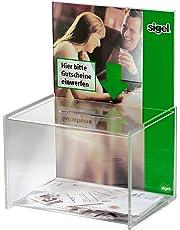 Sigel VA150 - Buzón de sugerencias, orificio tamao A4, acrílico transparente, 23 x 30 x 17 cm