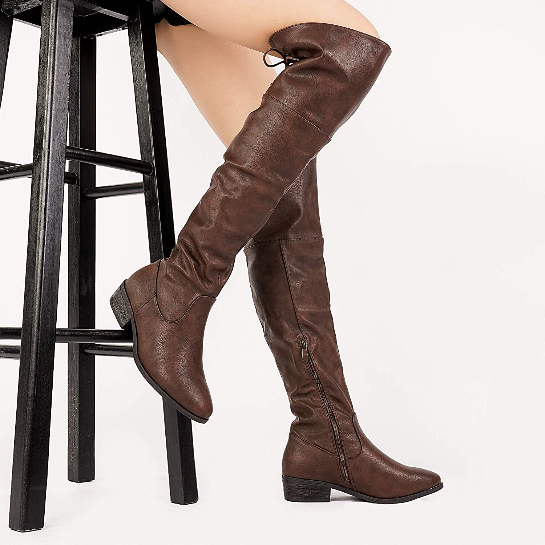 DREAM PAIRS Frauen-LEI Kniehohe Stiefel 8.5 B B B (M) US Damen Braun 8.5 M US 9f7bf0
