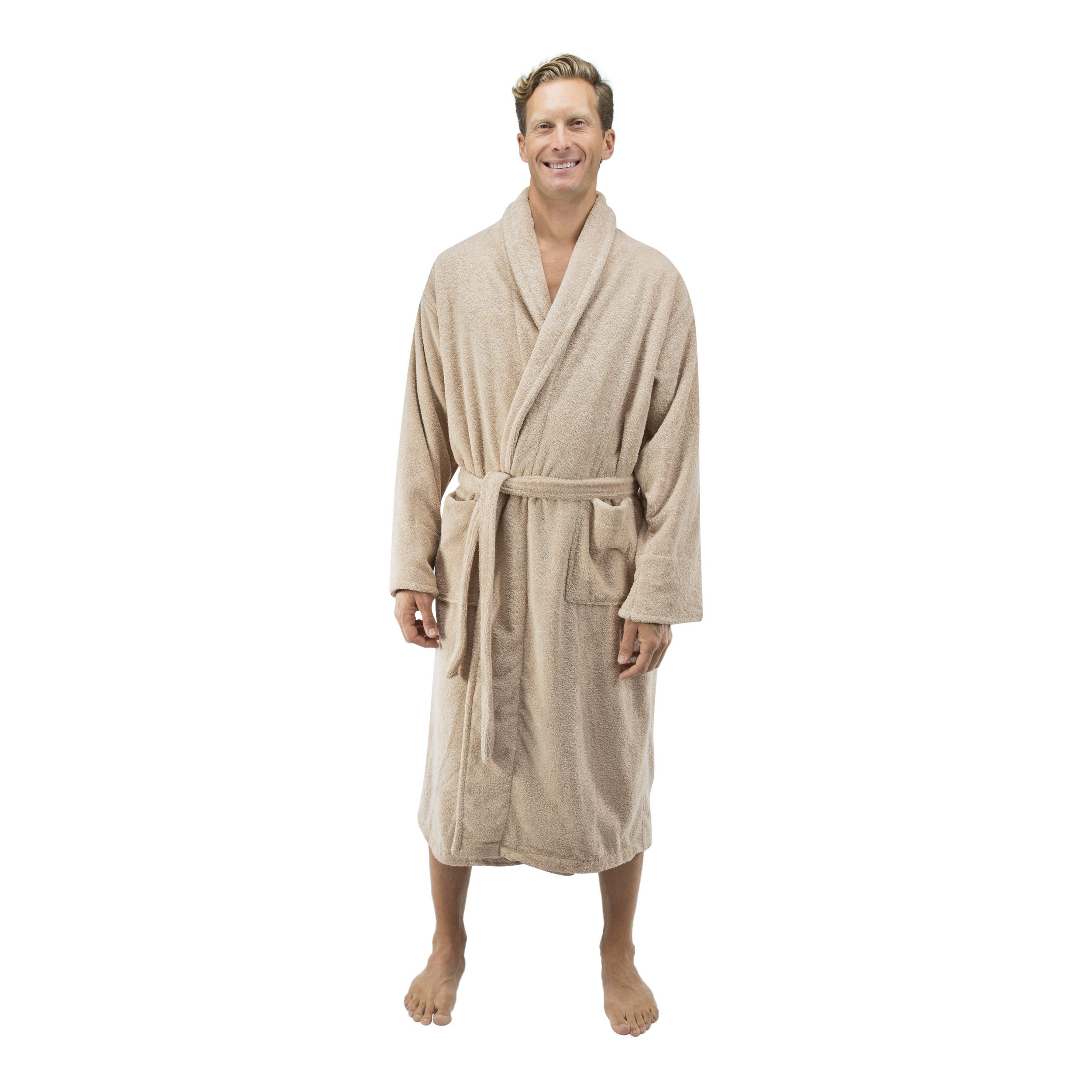 Comfy Robes Personalized Men's 16 oz. Turkish Terry Cotton Bathrobe, XXL Beige