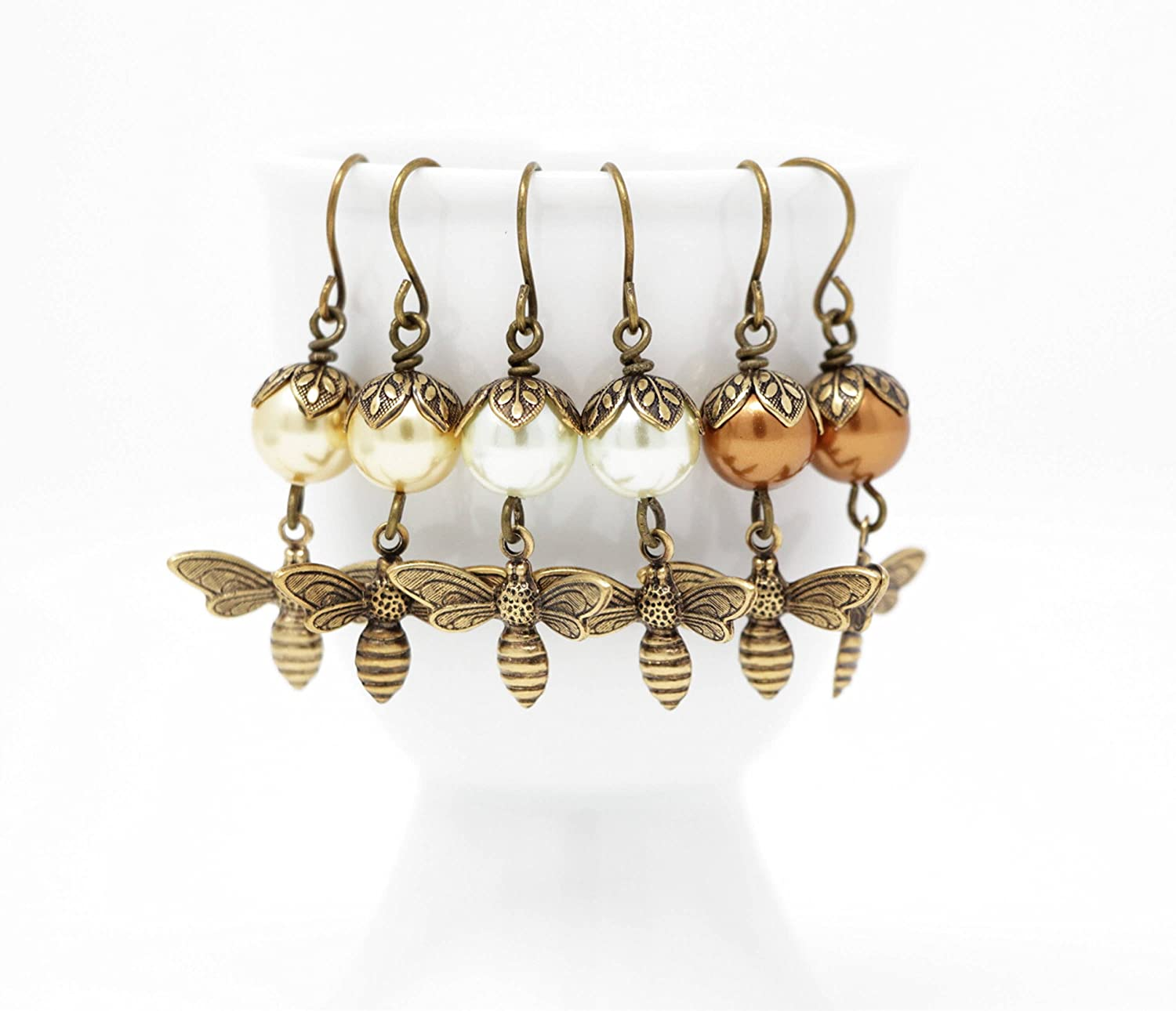 Bee Dangle Earrings With Simulated Pearls