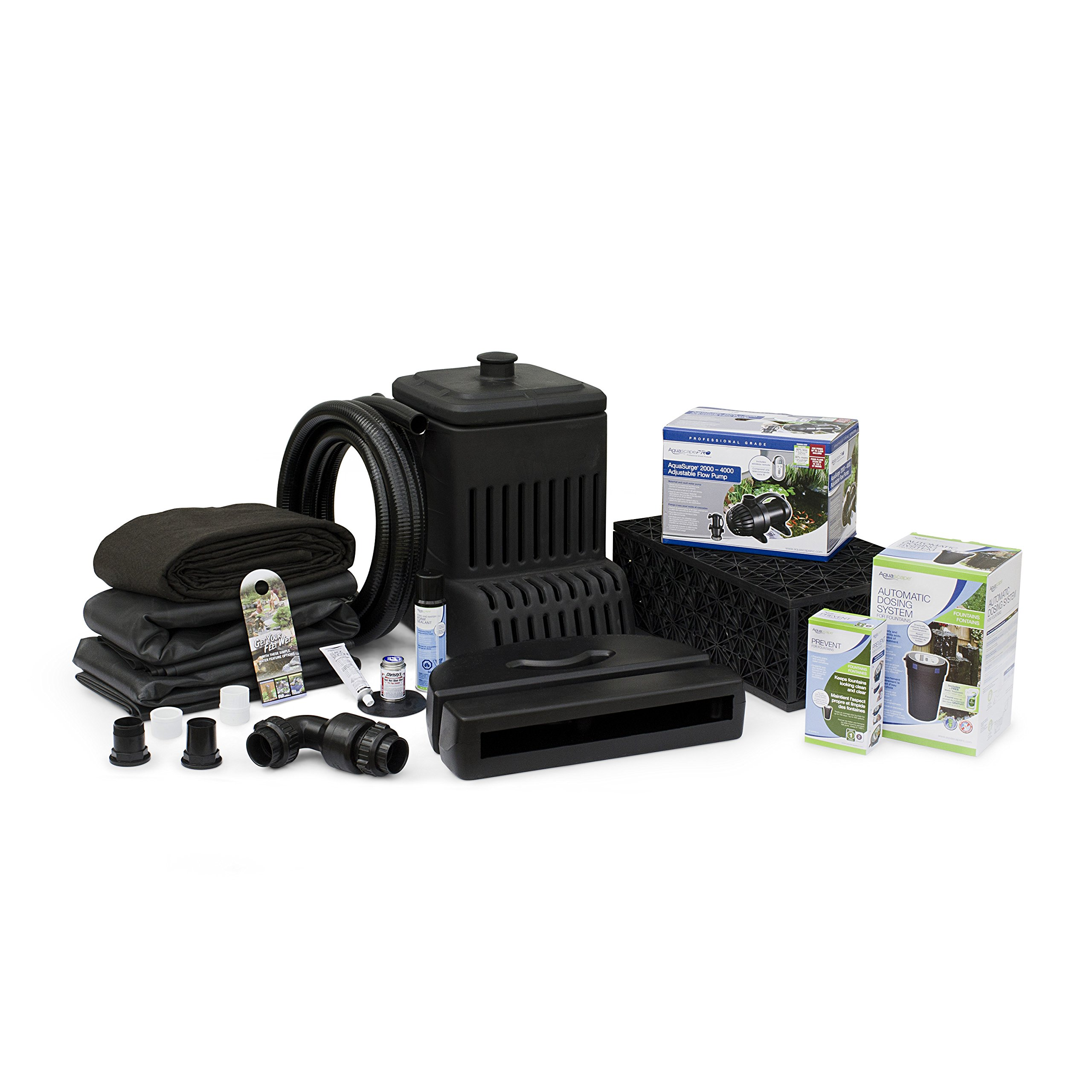 Aquascape Complete Waterfall Kit with 6 Feet Stream | AquaSurgePRO 2000-4000 Water Pump by Aquascape