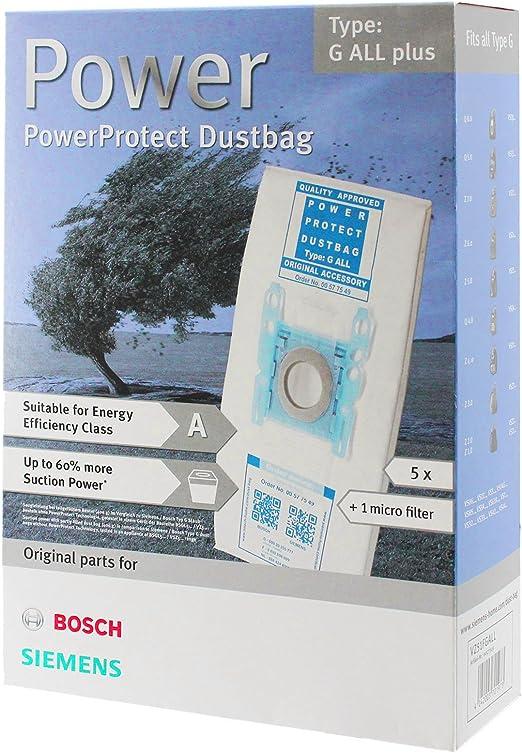 Bosch Tipo G ORIGINAL PowerProtect Gamuza de microfibra Bolsas de aspiradora + Filtro (5 unidades): Amazon.es: Hogar
