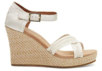 843a4dee5776 TOMS Women s Wedding Wedge Platinum Grosgrain Lace Sandal 9.5 B (M)