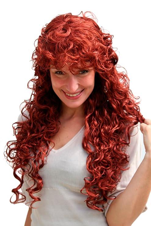 Longue perruque rousse, bouclée 9229-350