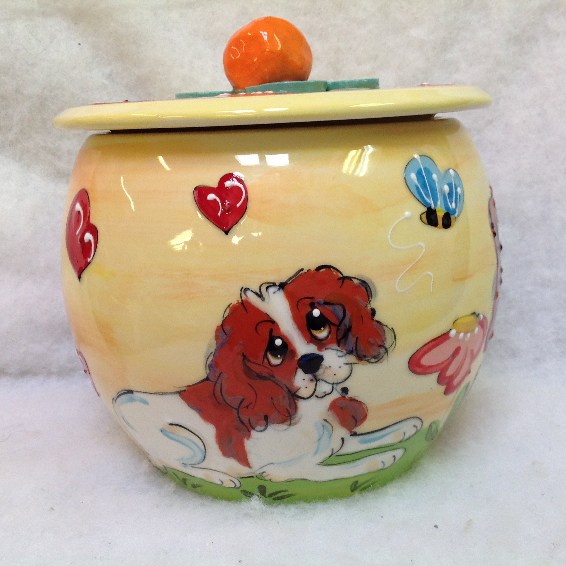 King Charles Cavalier Treat Jar. Personalized at no Charge. Signed by Artist, Debby Carman.