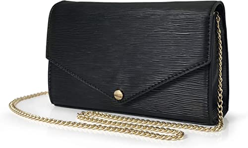 Womens Faux Leather Chain Envelope Gold Bla Ladies Evening Party Prom Clutch Bag