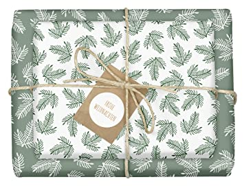 Geschenkpapier Weihnachten.4x Geschenkpapier Weihnachten Grün Weiße Tannenzweige Hochwertige