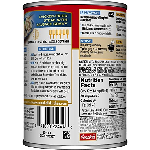 Amazon.com : Campbellu0027s Gravy, Country Style Sausage, 13.8 Ounce (Packaging  May Vary) : Grocery U0026 Gourmet Food