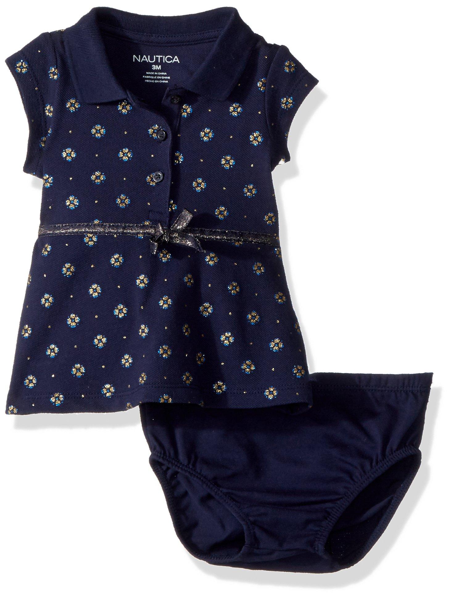 Nautica Baby Girls Short Sleeve Polo Dress, Navy, 9