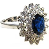 Classic And Timeless Royal Blue Ring Surrounded By Swarovski Little Brilliant Rounds Clear Elements. 5.4gr Weight. Silver Rhodium Luxury. Outstanding Quality.