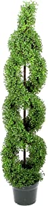 Admired By Nature 5' Artificial Boxwood Leave Double Spiral Topiary Plant Tree in Plastic Pot, Green/Two-Tone