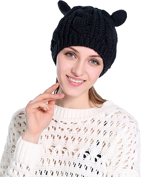 154dc699a01 Girls Cute Ear Knitted Beanie Fashion Winter Warm Ski Hats Caps at ...