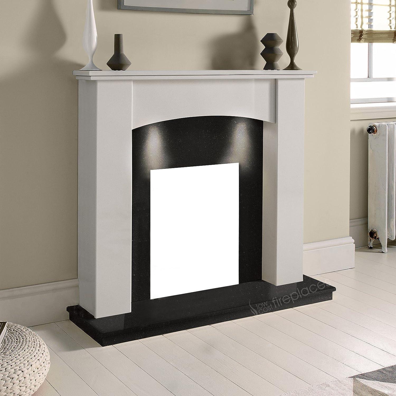 White Marble Stone Modern Curved Surround Black Granite Hearth