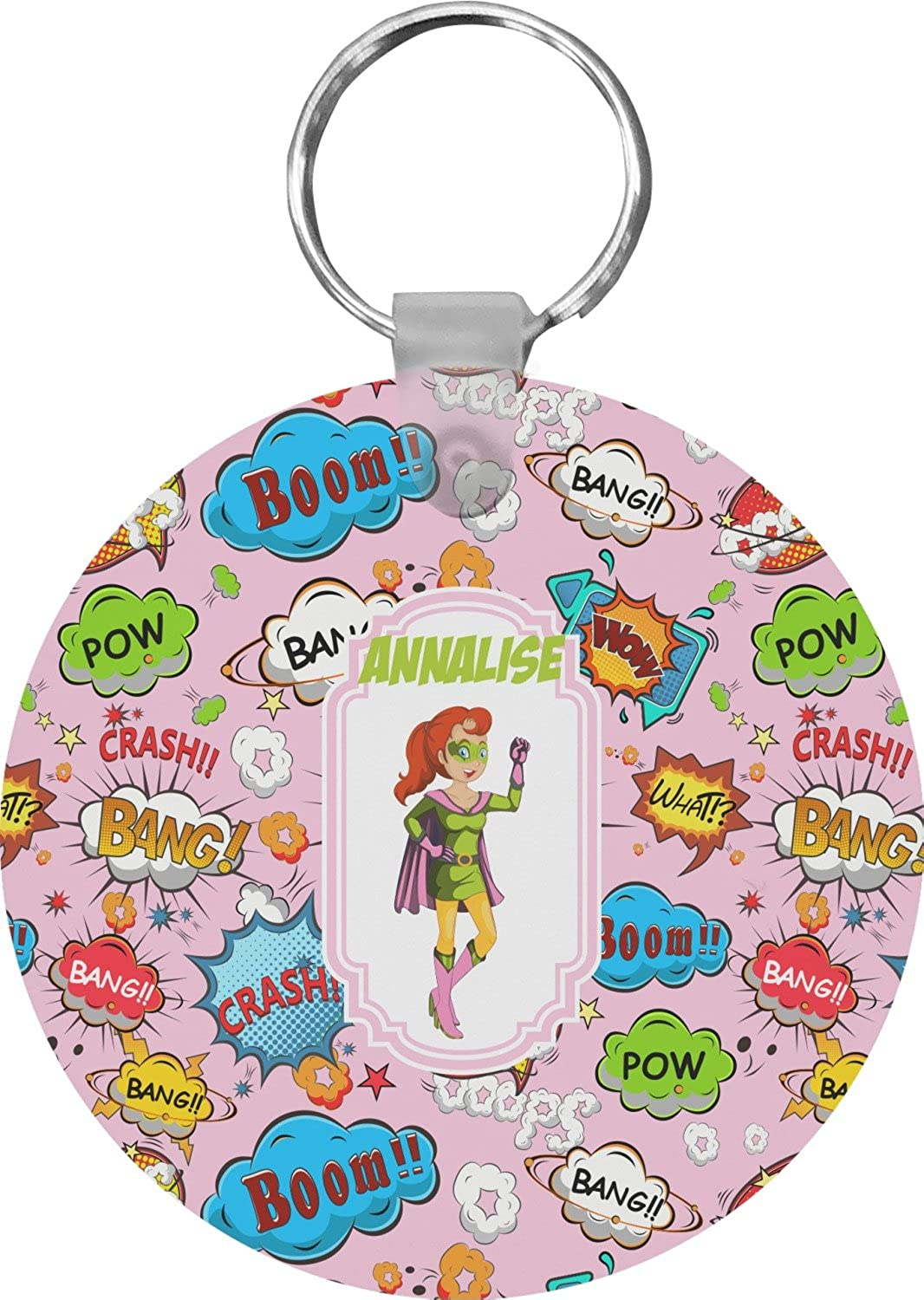 Woman Superhero Round Keychain (Personalized)
