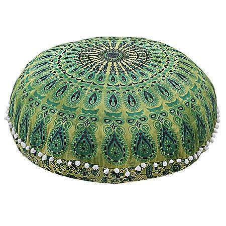 HANDICRAFT-PALACE Indian Peacock Mandala Ottoman Pouf Cover Round Floor Pillow Ottoman Living Room Large Seating Floor Pillow Cover Ottoman Cover Pouf Cover Boho Hippie