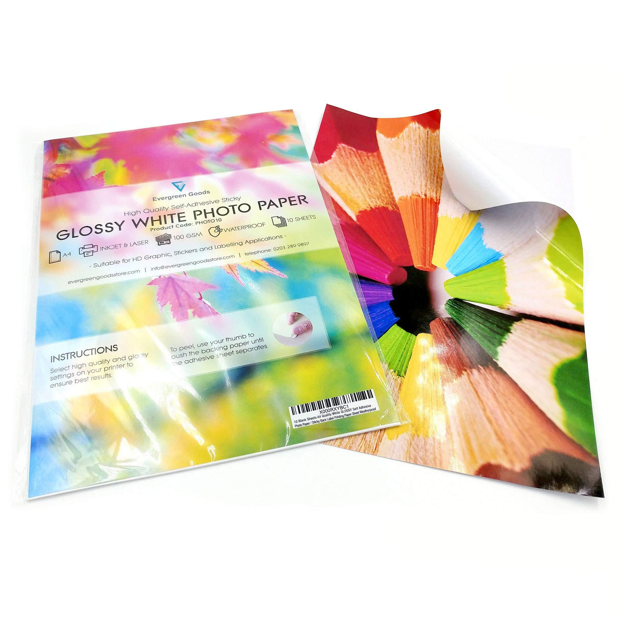 White Glossy Self Adhesive Sticker Sheets Quality PVC 10 x A4 Vinyl Laser Printable Waterproof Sheets