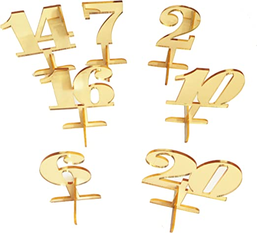 Números de mesa de espejo dorado acrílico para decoración de bodas ...