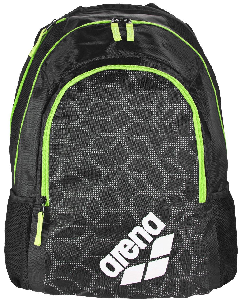 Arena Spiky 2 Swim Backpack, Black X-Pivot/Fluo Green