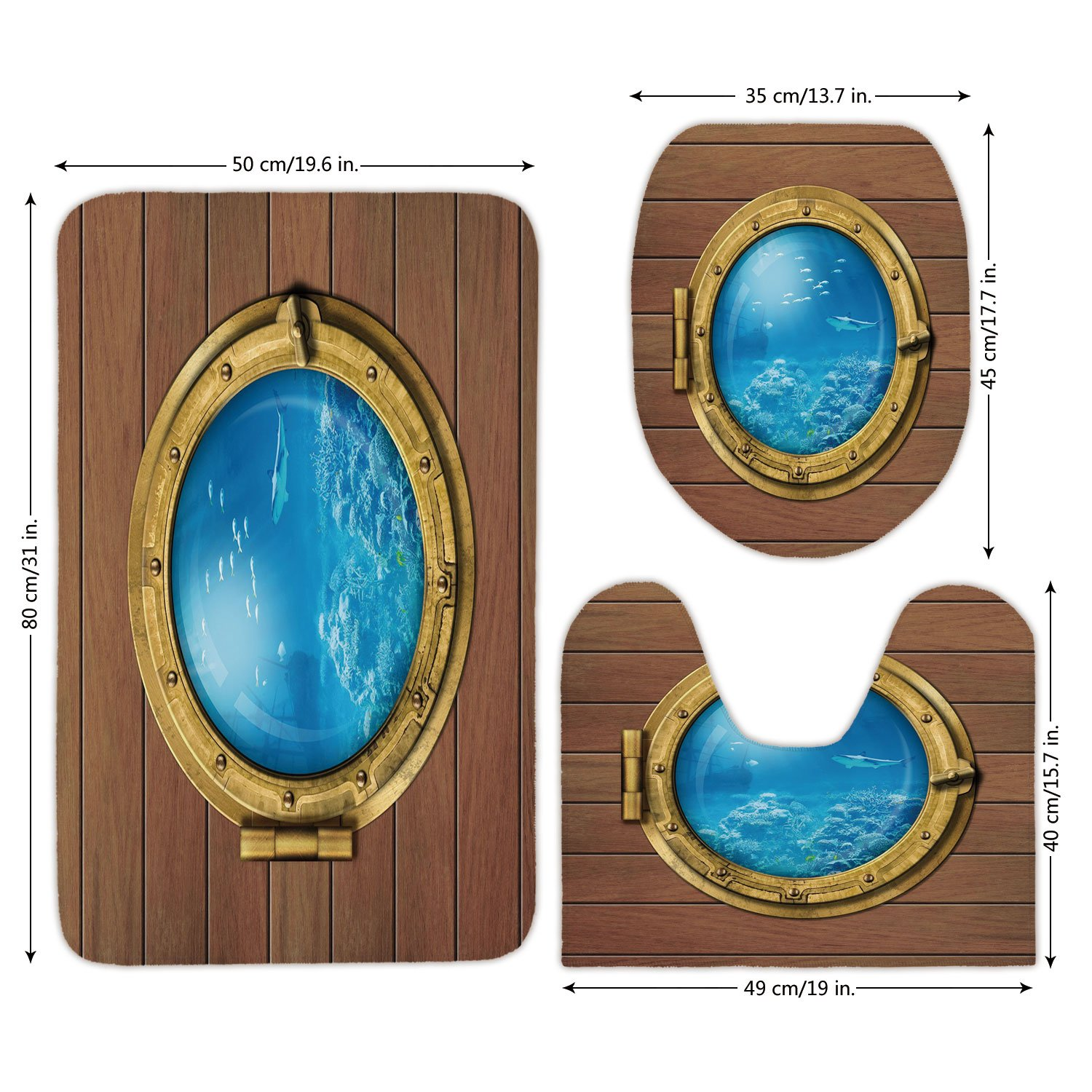 3 Piece Bathroom Mat Set,Shark,Submarine Chamber Window with A View of Coral Reef Swimming Fishes Print,Light Caramel Blue Gold,Bath Mat,Bathroom Carpet Rug,Non-Slip