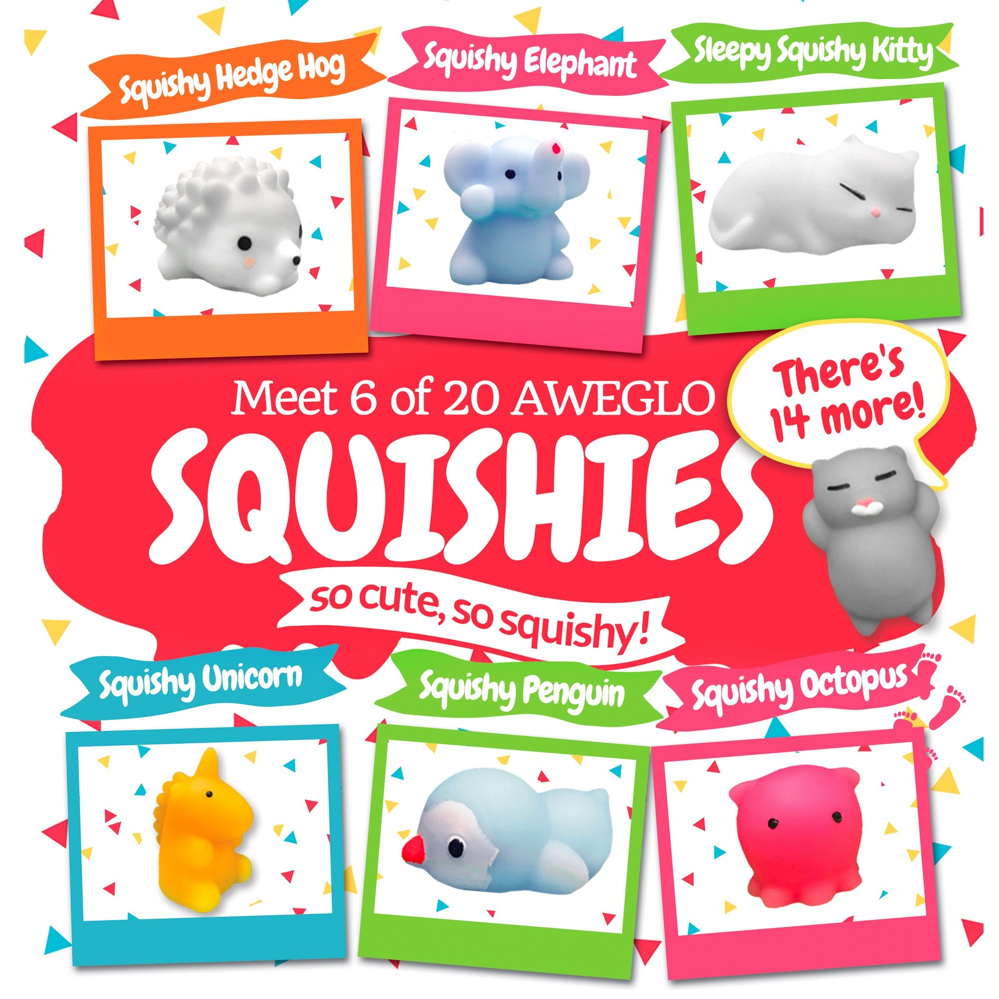 20 Mochi Squishy Toys, FREE CASE, 16 Animals 11 Colors, PARTY FAVORS AWEGLO Prime Silicone Small Mini Squishies Toy Boys Soft Kawaii Squishys Pack Kids Fidget Cat Stress Reliever No Slow Rise Sqishy's by AWEGLO Squishies (Image #1)