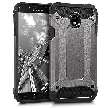 kwmobile Funda para Samsung Galaxy J5 (2017) DUOS - Carcasa híbrida de TPU con diseño transformer en antracita / negro