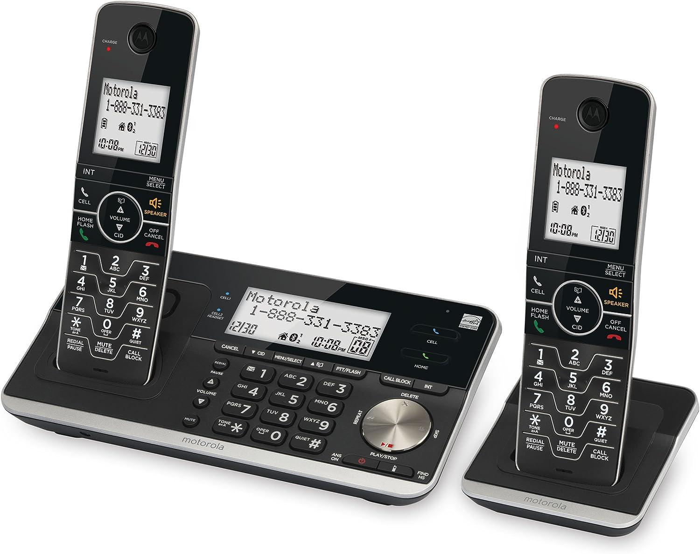 Motorola RT802 DECT 6.0 - Teléfono inalámbrico extensible con conexión Bluetooth, sistema de respuesta y bloque de llamadas inteligentes, negro, 2 auriculares: Amazon.es: Electrónica