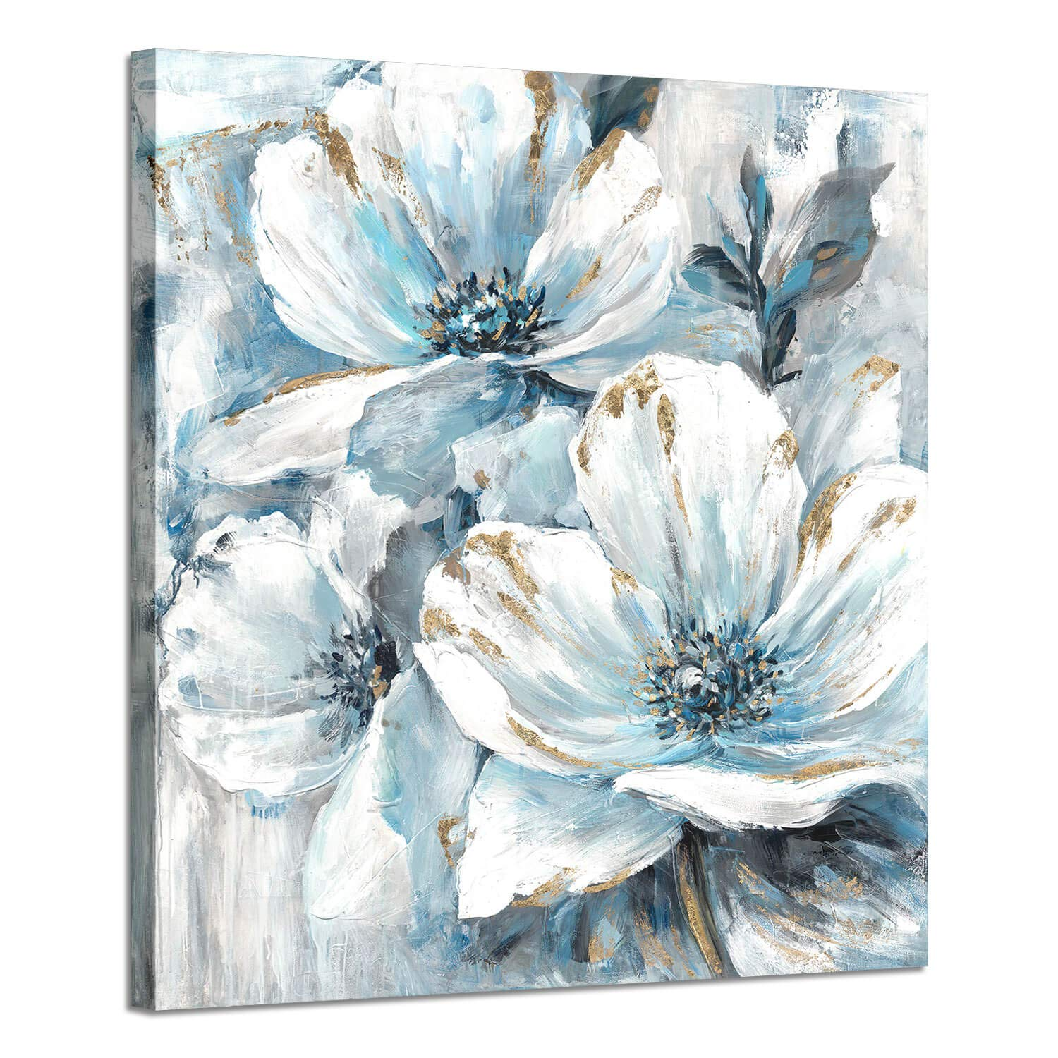 Flowers Artwork Oil Painting Pictures: White and Blue Lily Pad - Flower Splash with Burst of Spring Canvas Prints for Arts Decoration