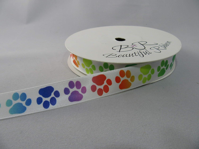 15 mm Perro 1,5 cm Beautiful Ribbon 2 Metros de Cinta de sat/én de 15 mm con Huellas de Patas Gato Animal Color Negro con Patas Azul Claro para beb/é