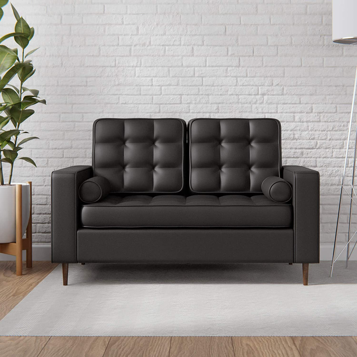 Edenbrook Lynnwood Upholstered Loveseat with Square Arms and Tufting-Bolster Throw Pillows Included, Faux Black