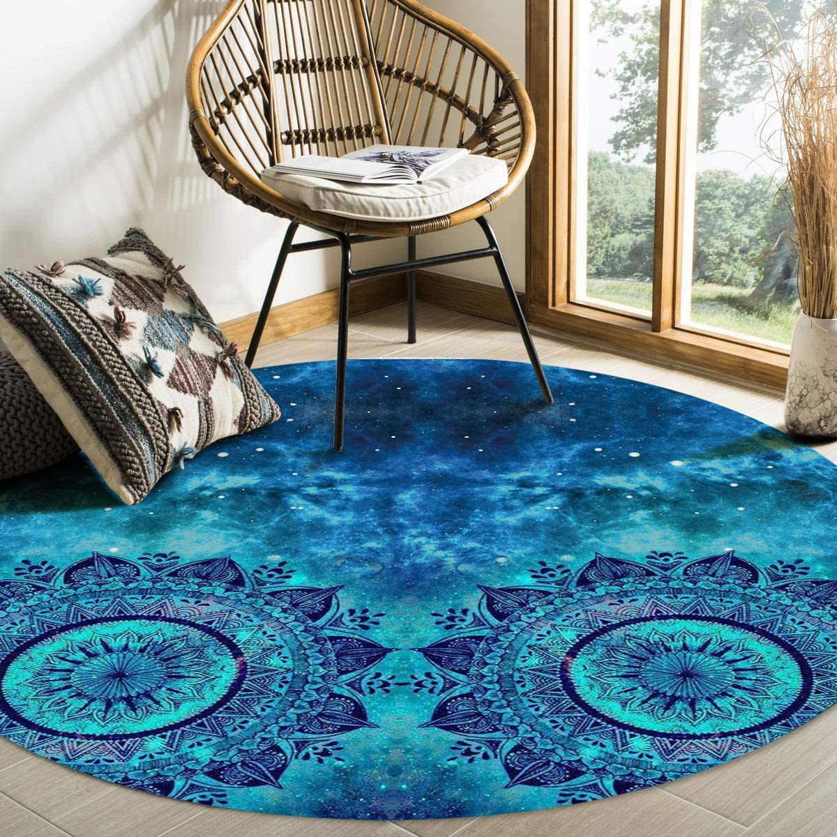 Plush Round Throw Rug Cozy Rug Floor Mat, Watercolor Starry Art Mandala Area Rugs Home Office Decorator, Super Soft Stain-Proof Carpets Kids Play Rug, 3 Feet