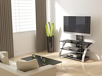 T V Stand Designs : Glass shelf tv stands you ll love in wayfair