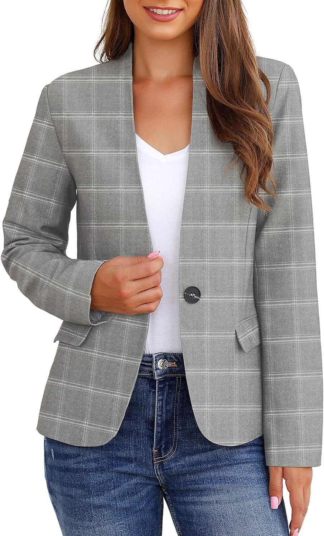 GRAPENT Women's Business Casual Pocket Work Office Blazer Back Slit Jacket Suit