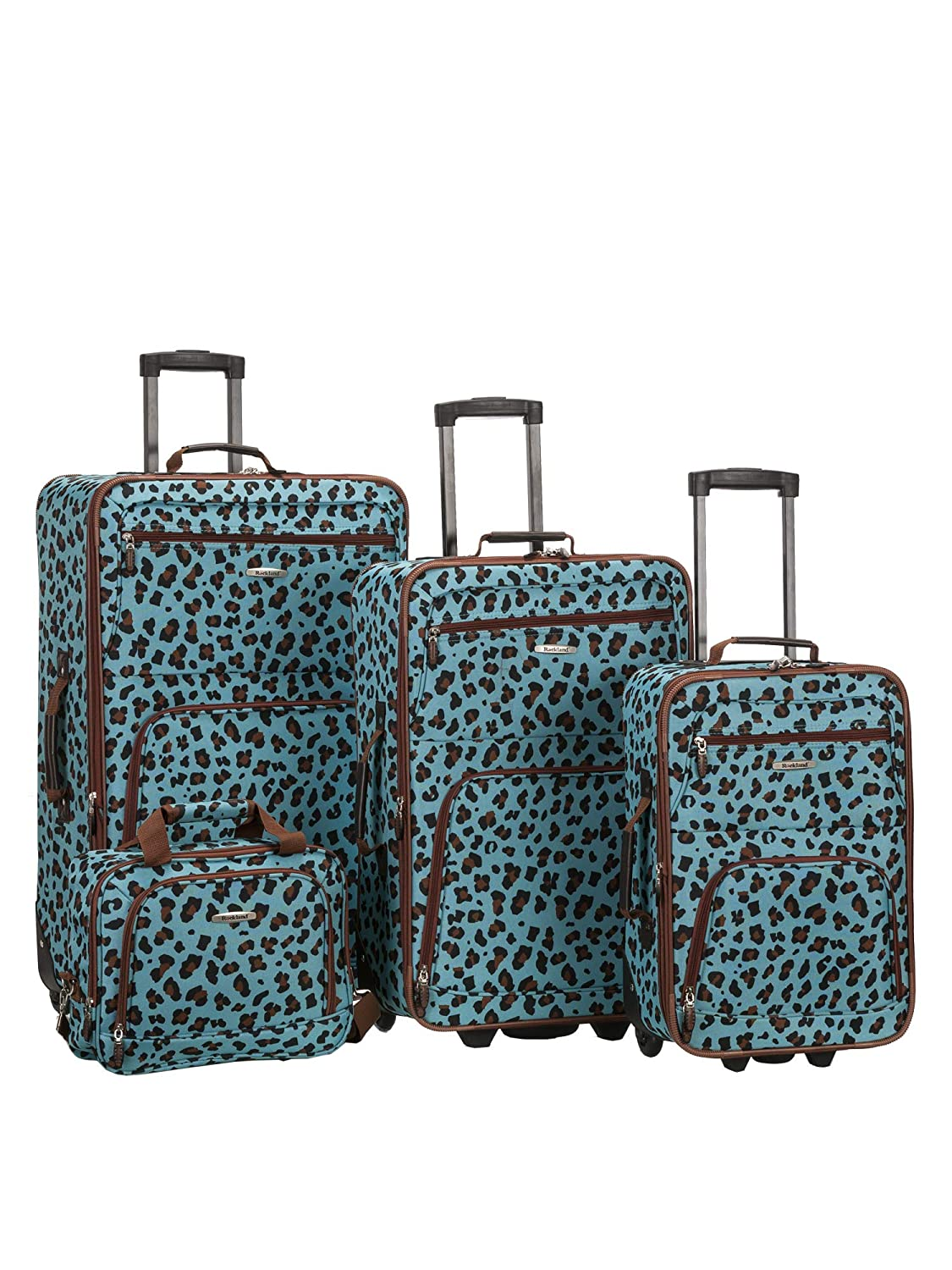 4b986079b Rockland 4 Piece Luggage Set, Blue Leopard, One Si.