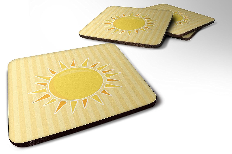 Caroline 's Treasures bb7066fcのセット4 Sunshine Sun On Stripes Foamコースターのセット4、3 1 / 2 x 3 1 / 2、マルチカラー   B06ZZSHN47