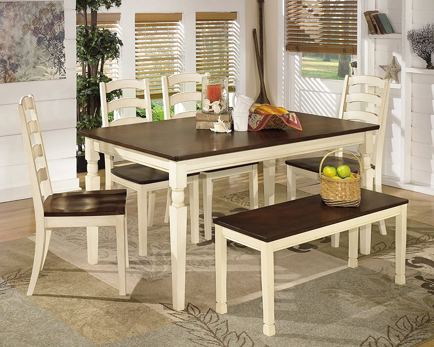 Ashley Furniture Signature Design - Whitesburg 6-Piece Dining Room Set -  Includes Rectangular Table, Bench & 4 Chairs