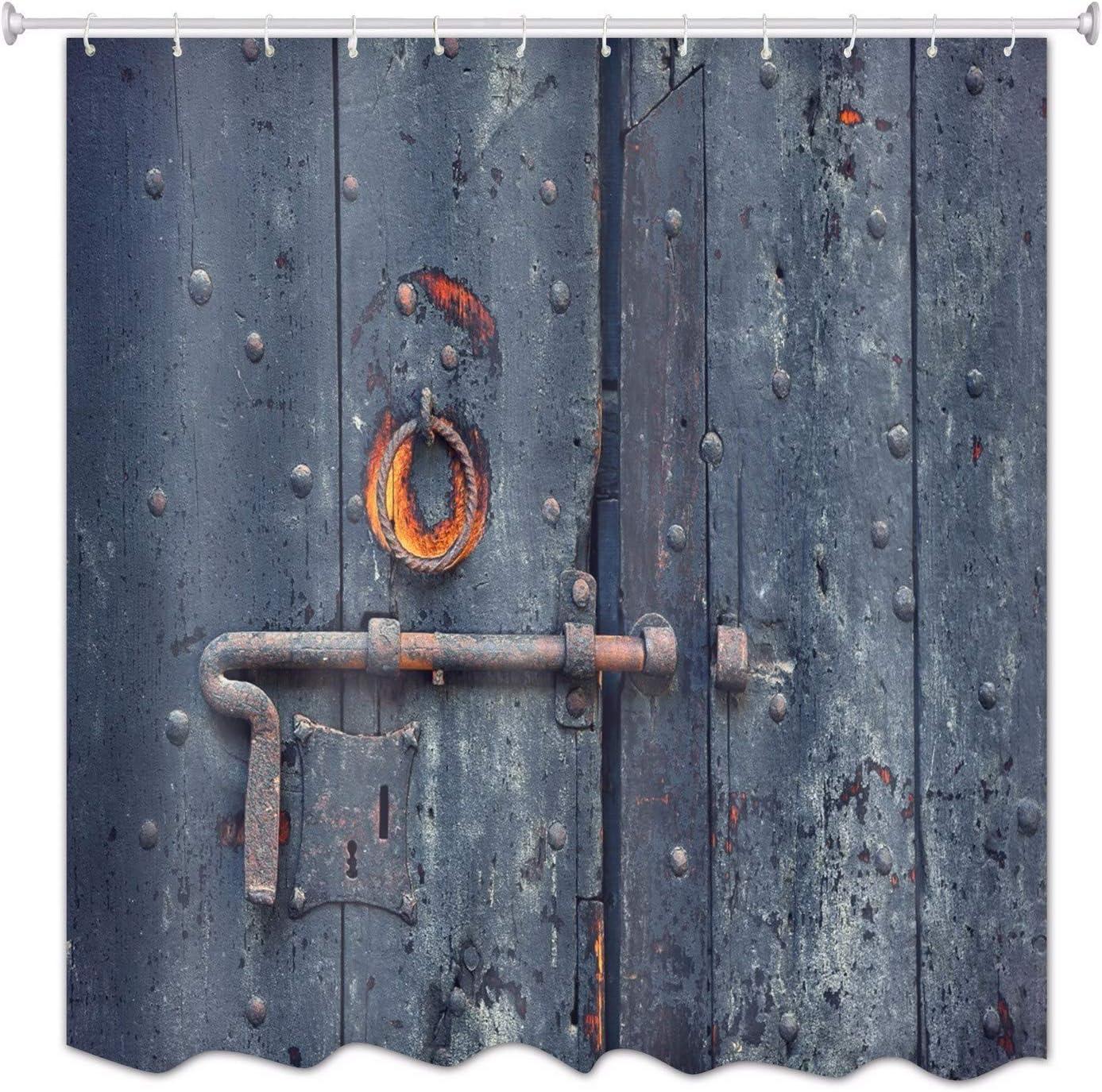 A.Monamour Azul Profundo Puerta De Madera Pintada Vintage Tablones De Tela De Poliéster Impermeable Barn Cortinas De Ducha De Tela Poliester Antimoho De Madera para Bañeras De Baño 180x200 cm
