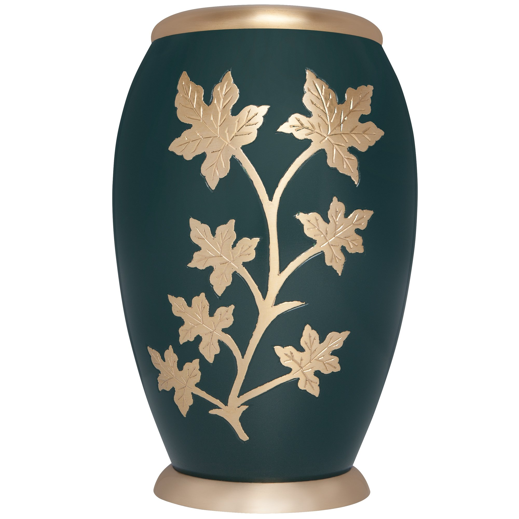 Liliane Memorials Green Funeral Cremation Urn with a Maple Branch and Gold Leaves Palermo Model in Brass for Human Ashes; Suitable for Cemetery Burial; Fits Remains of Adults up to 200 lbs, Large, by Liliane Memorials