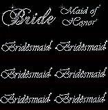 Lot of 8 Rhinestone Wedding Iron on Transfer (1 Bride) (1 Maid of Honor) (6 Bridesmaid)