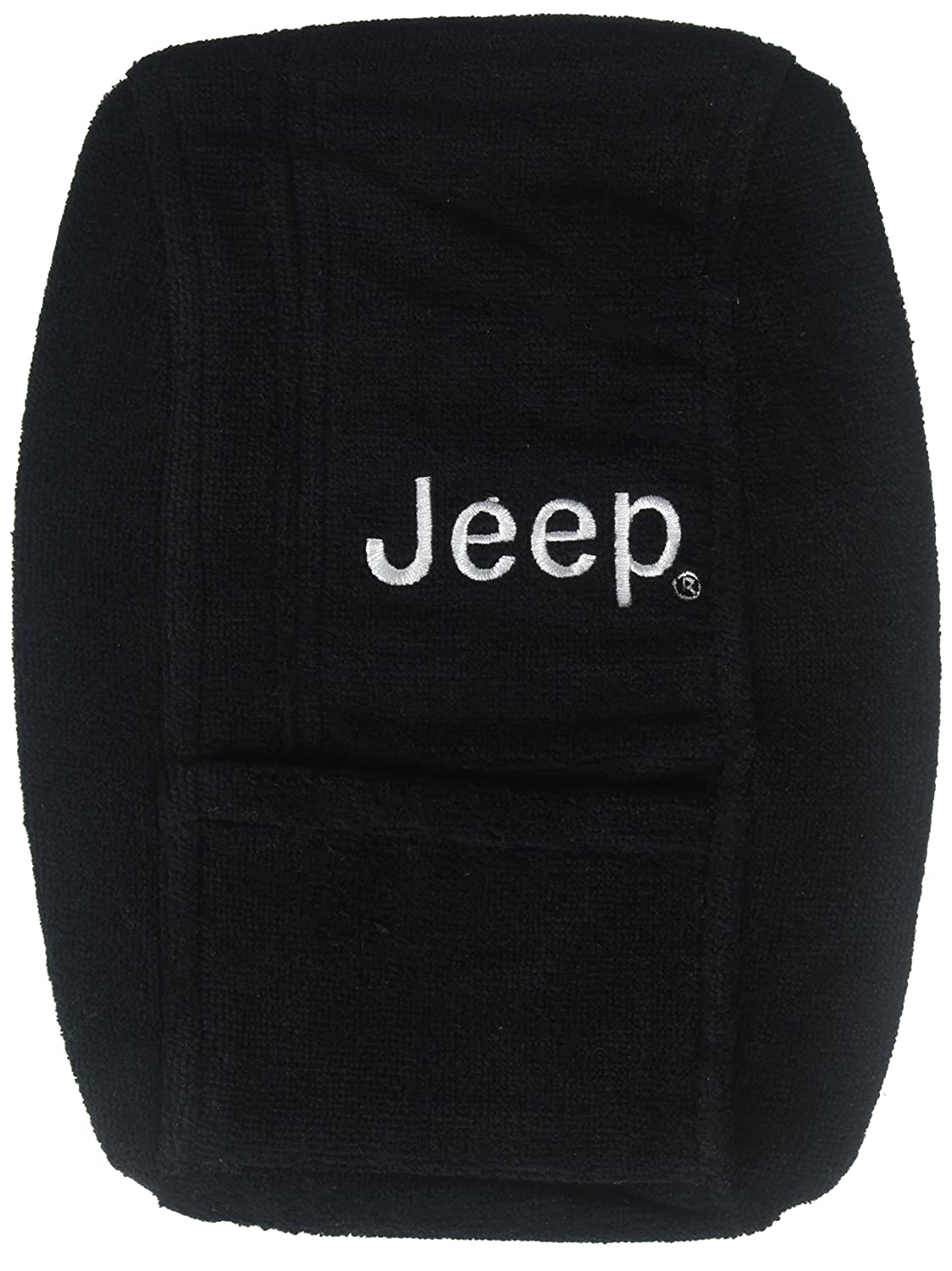 Black Seat Armour Officially Licensed Custom Fit Center Console Cover with Jeep Embroidered Logo for Select Jeep Wrangler Models KAJWB97-00
