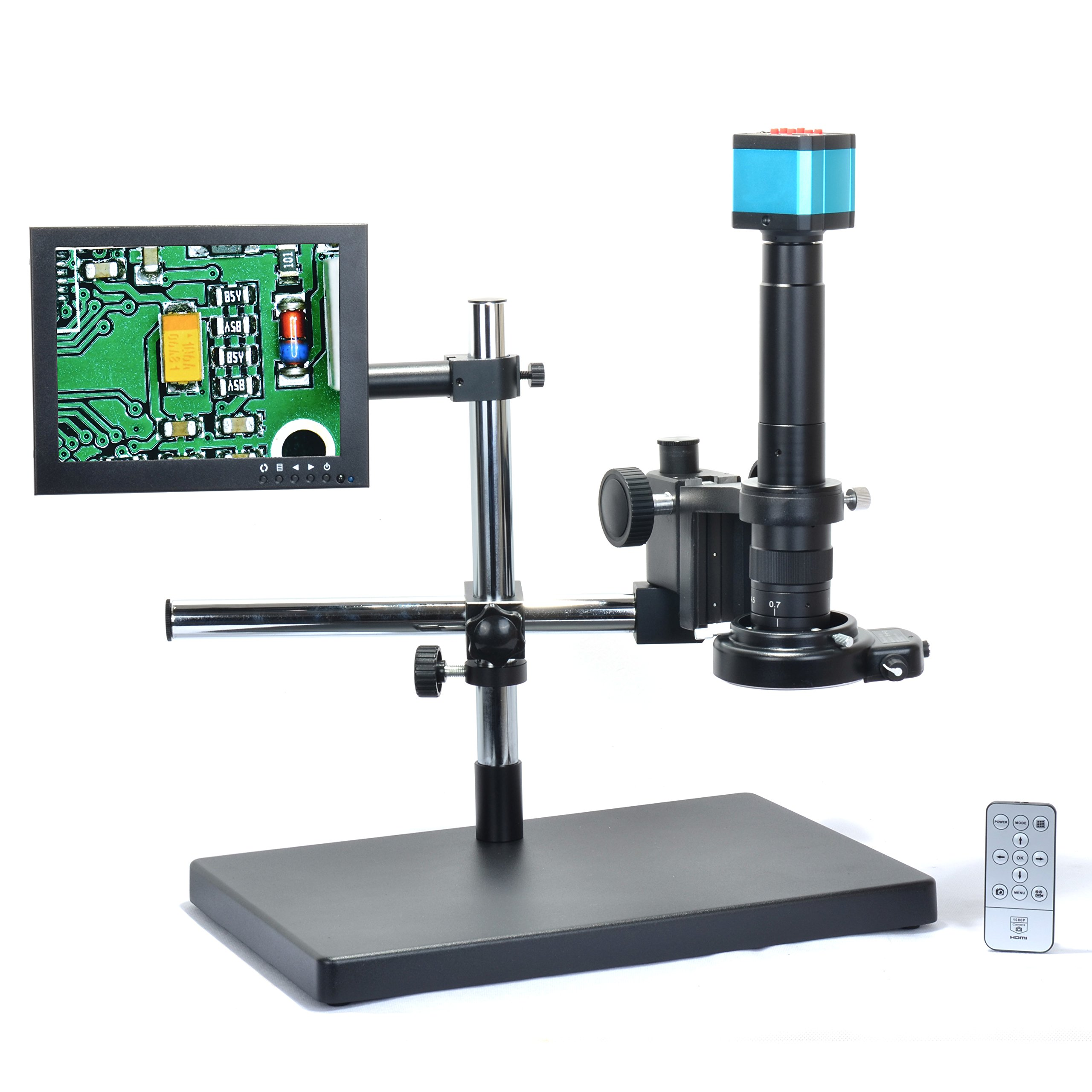 Aihome 14MP HDMI HD USB Digital Industry Video Microscope Camera Set+Big Boom Stand Universal bracket +300X C-MOUNT Lens+144 LED Light + 8'' inch HDMI LCD Monitor (300X Zoon Lens) by Aihome